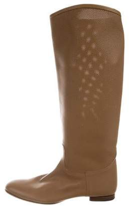 Hermà ̈s Perforated Leather Knee-High Boots Hermà ̈s Perforated Leather Knee-High Boots