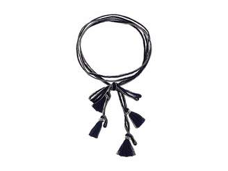 Chan Luu Chiffon Solid Necktie with Tassels Necklace