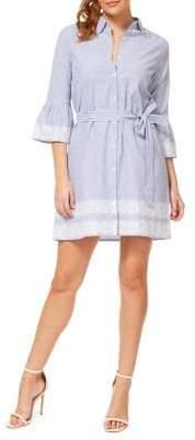Dex Striped Cotton Button-Front Dress