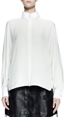 Lanvin Long-Sleeve Collared Shirt, White $1,555 thestylecure.com