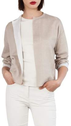 Akris Stretch Silk & Linen Reversible Cardigan