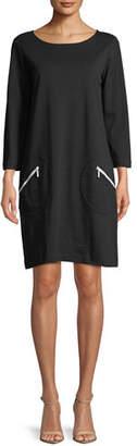 Joan Vass Circle-Pocket Cotton Shift Dress, Plus Size