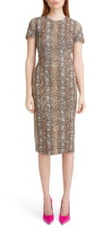 Victoria Beckham Snake Jacquard Sheath Dress