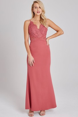 Little Mistress Cassidy Sienna Blush Lace Maxi Dress