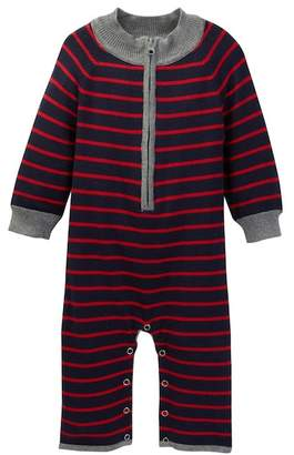 Toobydoo Gary Striped Sweater Knit Zip Jumpsuit (Baby Boys)