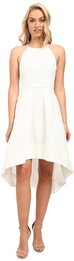 Aidan MattoxAidan Mattox - Sleeveless Basket Weave Pattern Halter with High-Low Hem Women's Dress