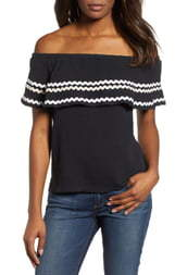 Gibson x Hi Sugarplum! Santa Fe Rickrack Off the Shoulder Top