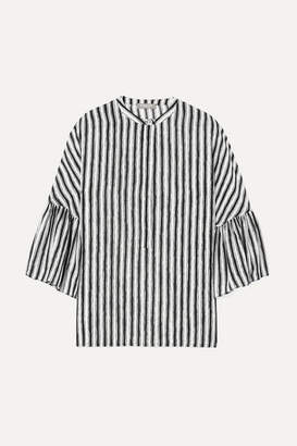Michael Kors Striped Silk-crepe Blouse - White