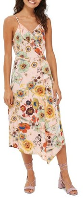 Women's Topshop Star Floral Ruffle Wrap Slipdress $95 thestylecure.com