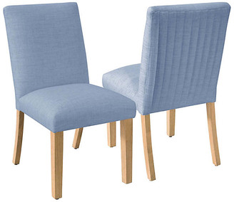 One Kings Lane Set of 2 Erin Pleated Side Chairs - French Blue Linen