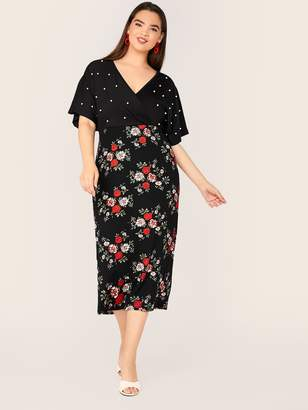 Shein Plus Surplice Neck Pearls Beaded Floral Print Slit Back Dress
