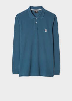 Paul Smith Men's Dark Teal Organic-Cotton 'Zebra' Long-Sleeve Polo Shirt