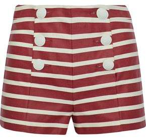 RED Valentino Button-Detailed Striped Denim Shorts