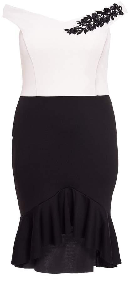 Curve Black And Cream Bardot Frill Midi Dress