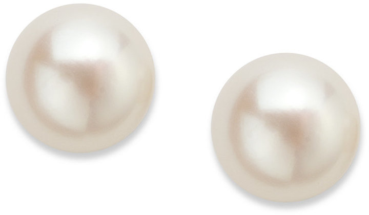 Townsend Victoria 18k Gold over Sterling Sterling Silver Earrings, June Birthstone Cultured Freshwater Pearl Stud Earrings (7mm)