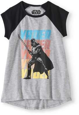 Star Wars Girls' Darth Vader Lightsaber Attack Short Sleeve Raglan Hi-Low Graphic T-Shirt