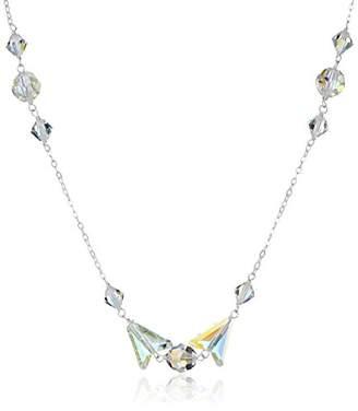 Swarovski Sterling Silver Elements Crystal Aurora Borealis Arrow Bead Chain Necklace