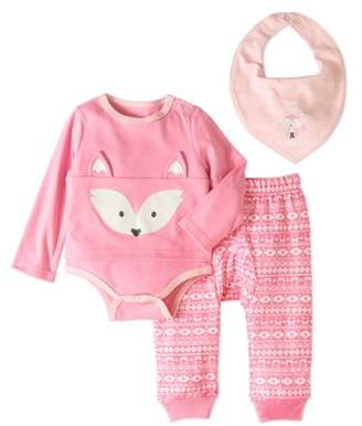 Quiltex Newborn Girls' Bodysuit, Pants and Bib 3-Piece Layette Set