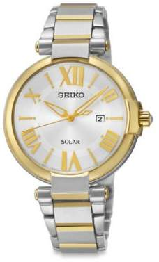 Seiko Ladies' Two-Tone Solar Recraft Watch in Stainless Steel $213.75 thestylecure.com