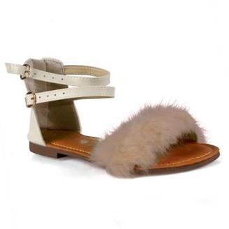 Steve Madden Stella Fur Trim Ankle Strap Women's Flat Sandals in Beige