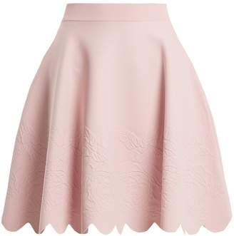 Alexander McQueen Scalloped-hem matelassé A-line skirt