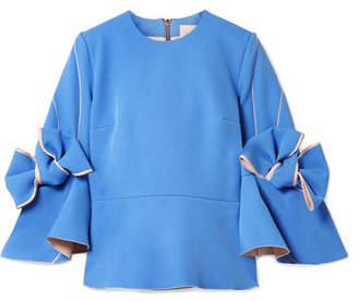 Roksanda Kemi Bow-embellished Satin-trimmed Crepe Blouse - Azure