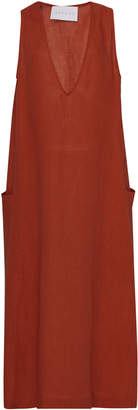 Asceno V-Neck Linen Pocket Midi Dress
