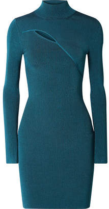 Thierry Mugler Cutout Ribbed Stretch-knit Turtleneck Mini Dress - Blue