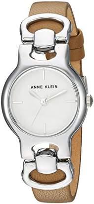 Anne Klein Women's AK/2631SVTN Silver-Tone and Tan Leather Strap Watch