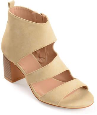 Journee Collection Womens Juniper Zip Open Toe Stacked Heel Pumps
