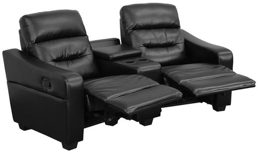 Offex Futura Series 2-seat Reclining Leather Theater Seating Unit with Cup Holders