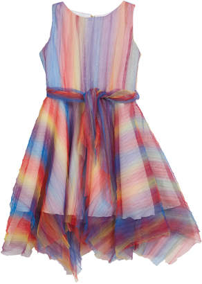 Zoe Summer Pleated Rainbow Mesh Handkerchief Dress, Size 4-6X