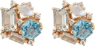 Suzanne Kalan Topaz and Rainbow Moonstone Stud Earrings