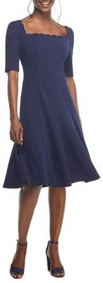 Gal Meets Glam Maria Scallop Scuba Crepe Fit & Flare Dress
