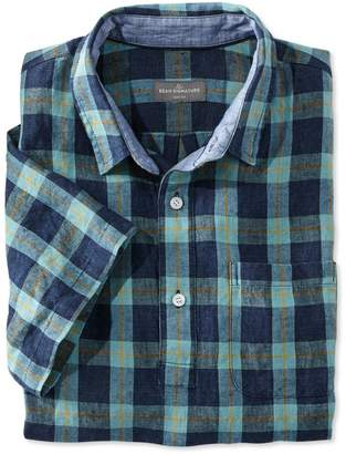 L.L. Bean L.L.Bean Signature Summer Indigo Popover Linen Shirt, Short-Sleeve Plaid