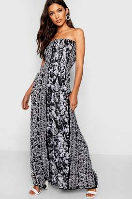 boohoo Bandeau Boarder Print Maxi Dress