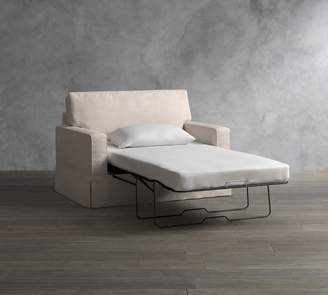 Pottery Barn PB Comfort Square Arm Slipcovered Twin Sleeper Sofa with Robin Mattress