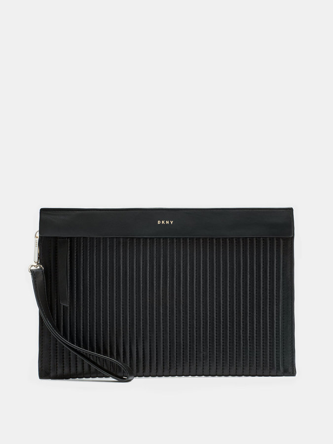 DKNY Quilted Lamb Nappa Pinstripe Clutch