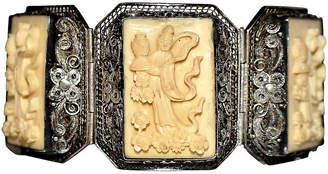 One Kings Lane Vintage Carved Sterling & Bone Panel Bracelet - Little Treasures