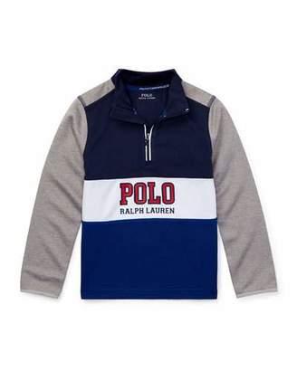 Ralph Lauren Colorblock Logo Half-Zip Knit Top, Size 2-4