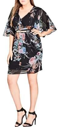 City Chic Wrap Flourish Shift Dress