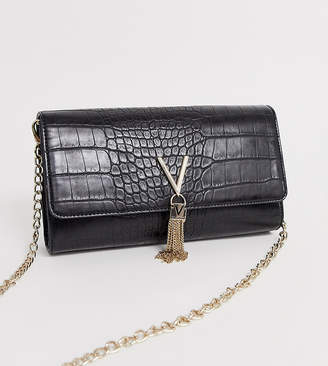 Mario Valentino Valentino By Valentino by Audrey black croc effect foldover cross body bag with chain