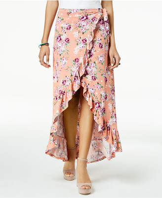 Ultra Flirt by Ikeddi Juniors' Ruffled High-Low Maxi Skirt