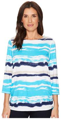 FDJ French Dressing Jeans Water Color Stripe Top Women's Long Sleeve Pullover