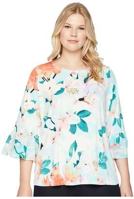 Calvin Klein Plus Plus Size Printed 3/4 Top w/ Chiffon Women's Long Sleeve Pullover