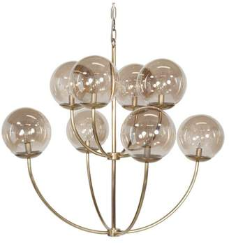 Worlds Away 8-Arm 2-Tier Antique-Style Chandelier With Clear Globes