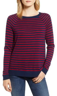 Vineyard Vines Stripe Zip Back Crewneck Sweater