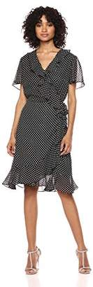 Tahari by Arthur S. Levine Women's Short Sleeve Polka DOT A LINE Dress with Ruffle Detail