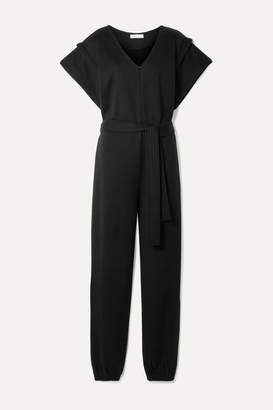 Ninety Percent Net Sustain Belted Organic Cotton-jersey Jumpsuit - Black