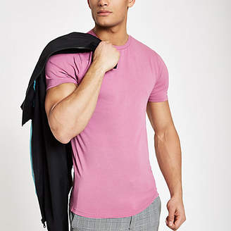 River Island Rose pink muscle fit crew neck T-shirt